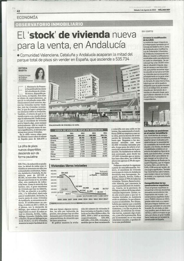 El stock de vivienda nueva para la venta en Andalucía