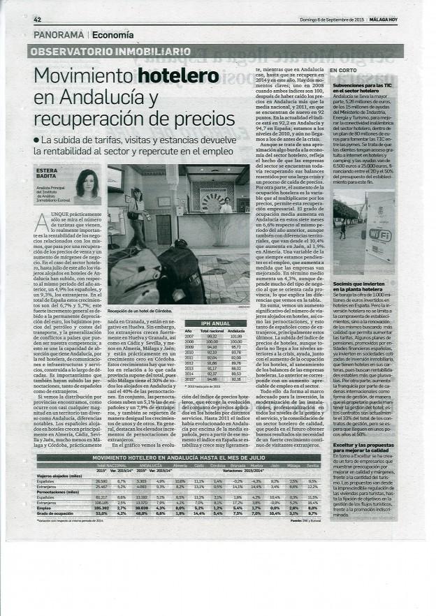 Movimiento hotelero en Andalucía y recuperación de los precios