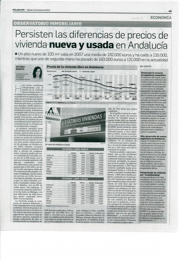 Persisten las diferencias de precios de vivienda nueva y usada en Andalucía
