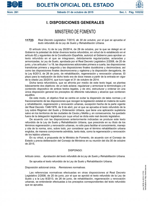Real Decreto Legislativo 7/2015, de 30 de octubre
