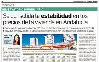 Se consolida la estabilidad en los precios de la vivienda en Andalucía