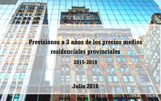 Previsiones a 3 años de los precios medios residenciales provinciales