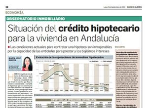 Situación del crédito hipotecario para la vivienda en Andalucía