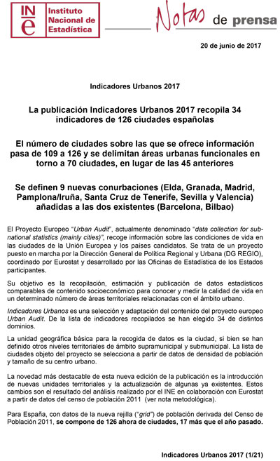 INE – Indicadores Urbanos 2017