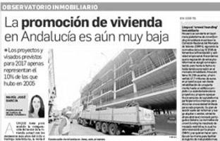 La promoción de vivienda en Andalucía es aún muy baja