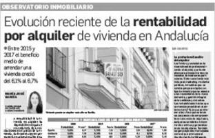 Evolución reciente de la rentabilidad por alquiler de vivienda en Andalucía