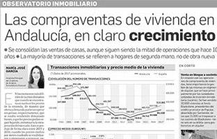 Las compraventas de vivienda en Andalucía en claro crecimiento