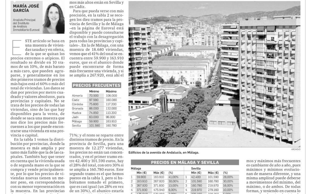 Observatorio Inmobiliario – Precios mínimos y máximos de vivienda más frecuente en Andalucía