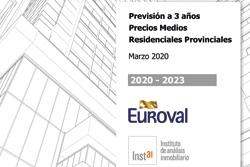 Previsión a 3 años Precios Medios Residenciales Provinciales, 2020 – 2022